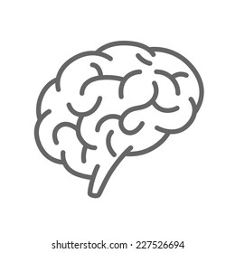 Silhouette of the brain on a white background, Brain icon line, Vector illustration