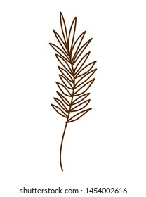 silhouette of branch with leaves on white background
