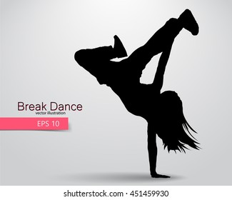 Silhouette of a break dancer. Background and text on a separate layer, color can be changed in one click. Break dance
