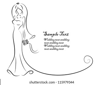 Silhouette of bride, background, wedding invitation, the vector