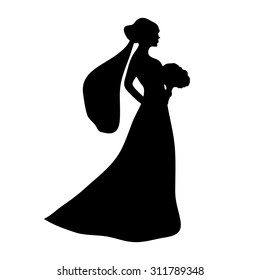 silhouette of a bride with a bouquet