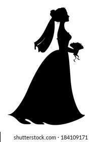 Silhouette of bride with bridal bouquet