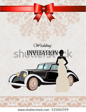 Silhouette Bride Classic Car Greeting Card Stock Vector Royalty - Classic car invitations