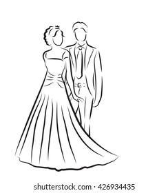 silhouette of bride and groom, newlyweds sketch, hand drawing, wedding invitation, vector illustration