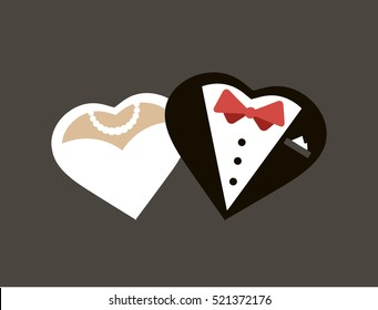Silhouette of bride and groom in the shape of hearts. Picture for wedding invitations. Wedding invite