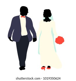 silhouette of the bride and groom, wedding