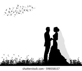 silhouette of the bride and groom, wedding, postcard