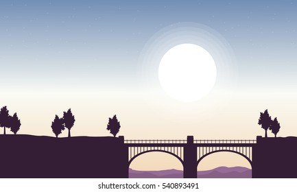 Silhouette of bridge beautiful landscape