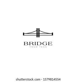 silhouette of the bridge icon - vector