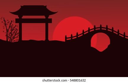 Silhouette of bridge scenery Chinese