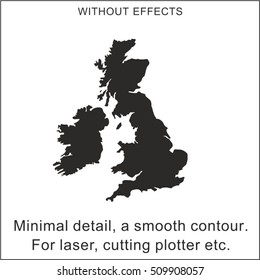 Silhouette of the British Isles. The minimum of details, smooth curves and lines. For laser cutting, milling cutter and cutting plotter.