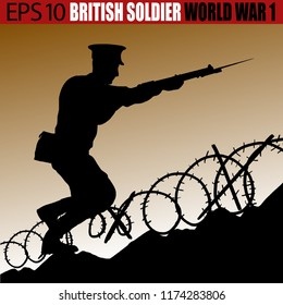 Silhouette of a British - United Kingdom soldier of World War 1. On the battlefield in 1914 - 1918. Original digital illustration.