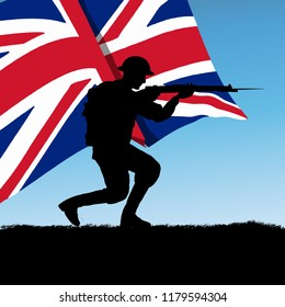 Silhouette of a British - United Kingdom soldier of World War 1, 1914 - 1918. Flag Background. Original digital illustration.