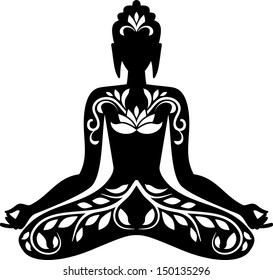 Silhouette of Buddha in lotus position