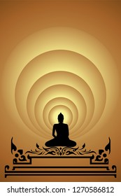 silhouette buddha on gold background