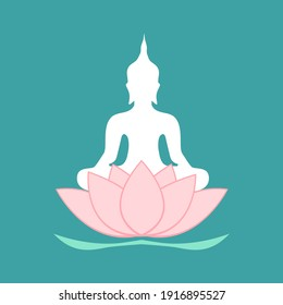 Silhouette of Buddha sitting on lotus flower in flat design. Buddhism statue for praying.