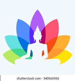 Silhouette of Buddha sitting on a lotus flower background. Yoga logotype - man in a lotus position