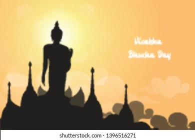 Silhouette of Buddha statue with beautiful lotus and clouds on sunrise or sunset sky background - Magha Asanha Visakha Puja Day Concept. Modern and Creative design in EPS10 vector illustration.