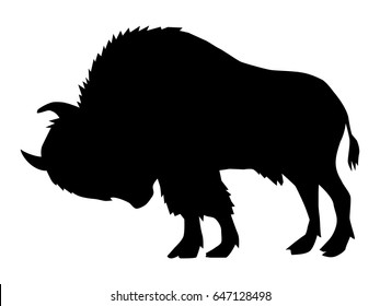 silhouette of buffalo, side view