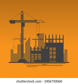 silhouette building site work process under construction with cranes and machines.Vector illustration.