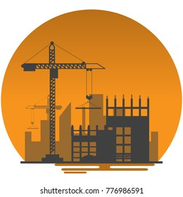 silhouette building site work process under construction with cranes and machines. Vector illustration.
