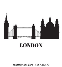 Silhouette building of United Kingdom, London travel icon landmark. City architecture England. World Europe Great Britain travel vacation sightseeing vector illustration
