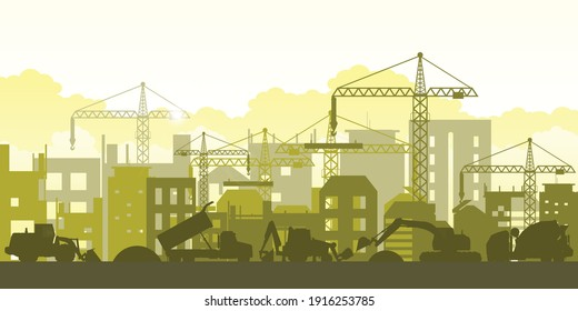 Silhouette of building work process with construction machines. Process of construction big building under construction. Vector illustration.