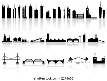 Silhouette buildings factorys and bridges of different kind