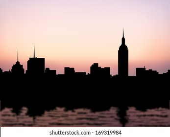 silhouette buildings in manhattan at new york city and water reflection at evening or morning sky background (vector)