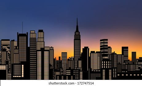 silhouette of buildings in new york city downtown with light from windows at evening,morning sky (vector)