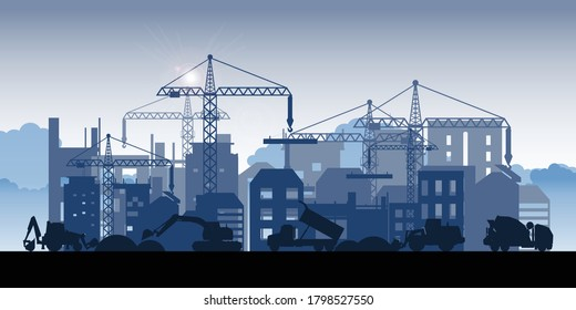 Silhouette of buildings under construction. Process of construction of big building dormitory area.Under construction Building work process with construction machines. Vector illustration.