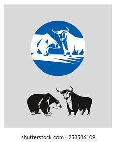 A silhouette of a bull and a bear. Corporate vector logo.