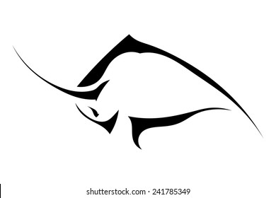 Silhouette of a bull in a fight on a white background. Trademark farm. Vector illustration.