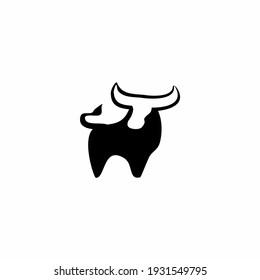 Silhouette Bull logo vector illustration design