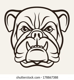 Silhouette of a bulldog isolated on a light background