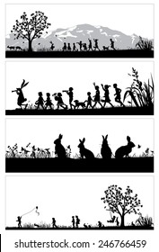 Silhouette of bunny and children in the park, vector