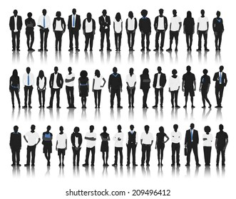 Silhouette of Business and Casual People