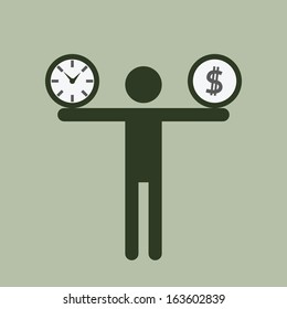 Silhouette business man carrying time and money on his shoulders. Business concept on time and money burden.