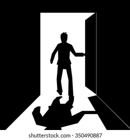 silhouette of a business man open and walking out  the door-black and white vector