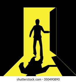 silhouette of a business man open and walking out  the door- vector