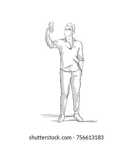 Silhouette Business Man Talking Selfie Photo Portrait, Male Sketch Hold Cell Phone Vector Illustration