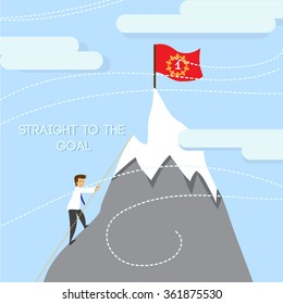 Silhouette of business man team climbing mountain. Vector illustration.