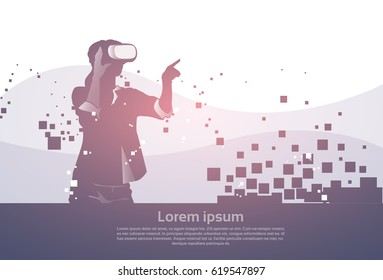 Silhouette Business Man Wear Virtual Reality Digital Glasses Digital Interface Screen Flat Vector Illustration