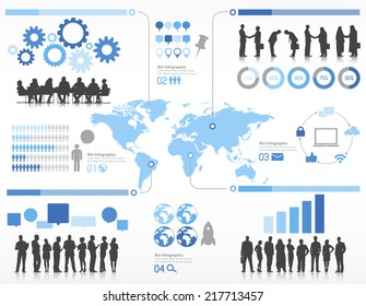 Silhouette Business People with Globalization Concept