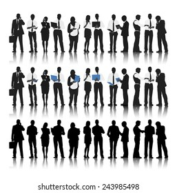 Silhouette of Business People in a Row Working