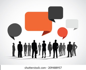 Silhouette Business People with Speech Bubbles