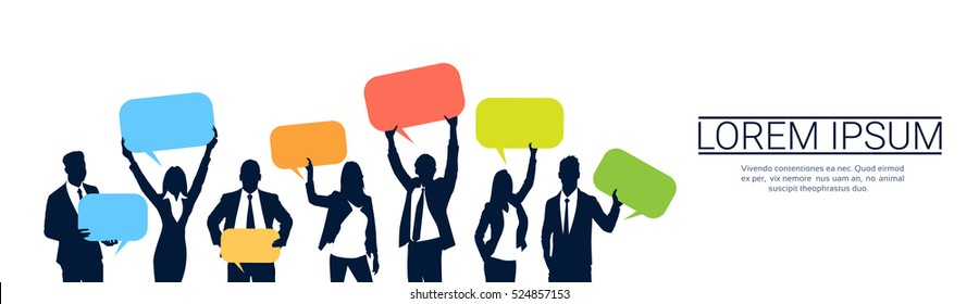 Silhouette Business People Team Hold Chat Bubble, Two Businessman Hand Shake, Boss Handshake Agreement Concept Flat Vector Illustration