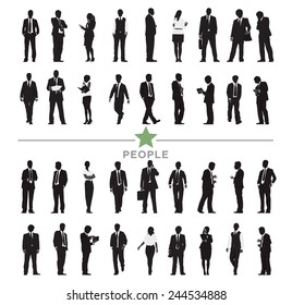 Silhouette Business People with Varioius Acting