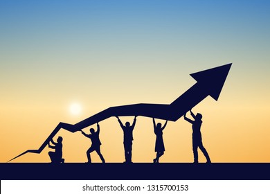 Silhouette of business team help push the graph up at sky and sunset background. Teamwork, success, and goal concept. Vector illustration.