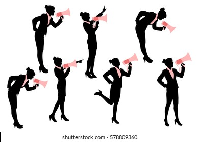 silhouette of business woman with white background